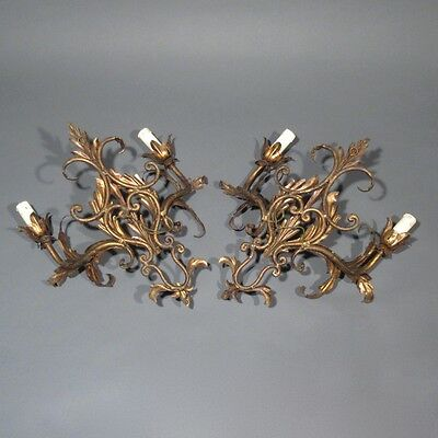 Pair of Vintage French Gilded Tole Sconces, Acanthus Leaves, Riviera Style 5