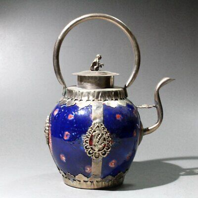 China Collect Old Miao Silver Armour Porcelain Carve Monkey & Dragon Old Tea Pot 2