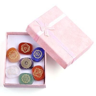 7x Set Engraved Chakra Stones Crystal Reiki Healing Energy Palm Natural Gemstone 3