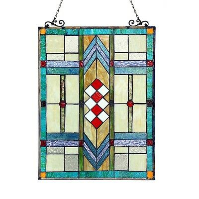 "Handcrafted Stained Glass Tiffany Style Window Panel Arts & Crafts 17.5"" x 25"" 2"