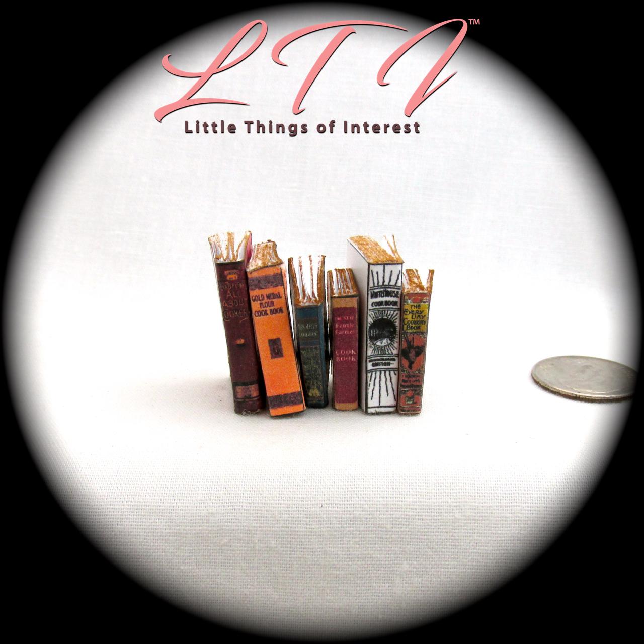 6 VINTAGE OLD COOKBOOKS Set Miniature Dollhouse 1:12 Scale Books PROP Faux 3
