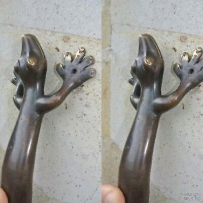 "2 large 14 "" GECKO PULL and  2 small 8"" gecko door handle aged brass hollow B 5"