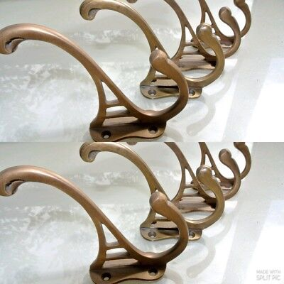 "8 natural look hall stand 4 COAT HOOKS door solid brass aged old style 4 ""DECO B 3"