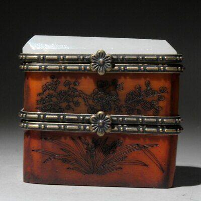 Collectable Old Boxwood Mosaic Jade Hand-Carved Myth Animal Auspicious Jewel Box 3
