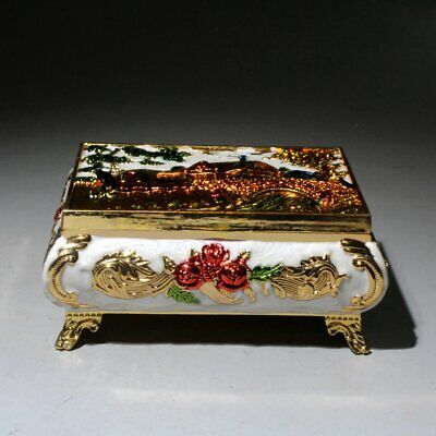 Collectable China Cloisonne Hand-Carved Beautiful Flowers Noble Chic Jewelry Box 3