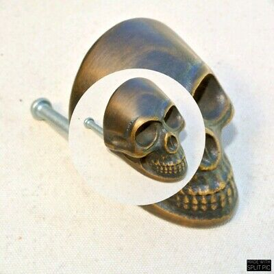 2 small Skull hardware cabinet Drawer 4cm Gothic Finger Pull Solid Brass 1.5/8 B 2