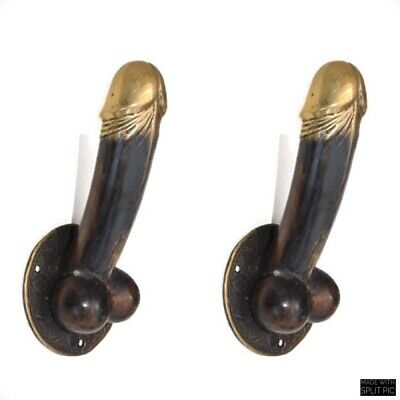 "2 PENIS erect DOOR PULL HOOK medium heavy aged brass 7 "" handle shop display B 2"
