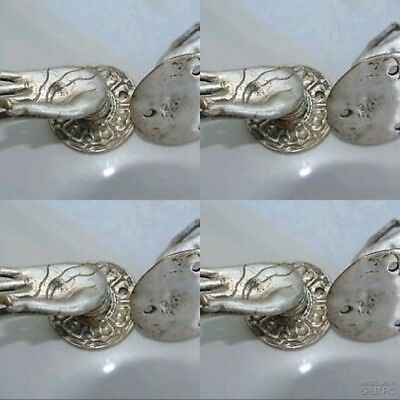 8 used TINY Buddha Pull handle SILVER brass door old style HAND knob hook B 8
