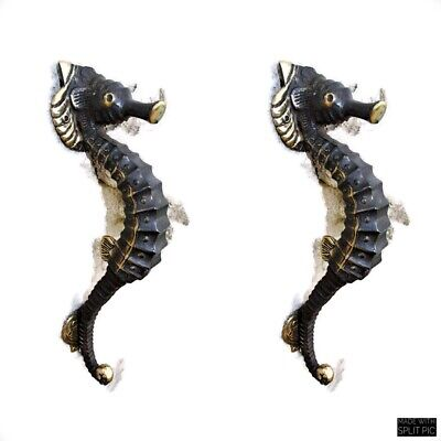 """3 small aged SEAHORSE solid brass door old style PULL handle 10"""" seaside B 3"""