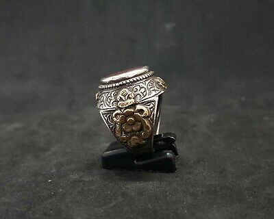 Beautiful Old Yemani Agate Stone Solid Silver And Gold Plated Unique Ring #H85 8