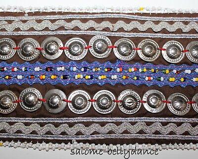 Brauner Mittelalter Bauchtanz Tribal Gürtel, 82 cm lang, Handarbeit, Baumwolle 4