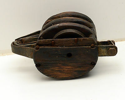 Antique  Block & Tackle Wood Iron Pulley Nautical 5