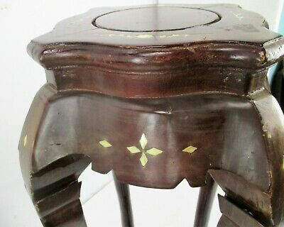 Pair Tall Carved Hard Wood Plant Bonsai Tables Pedestal  Inlay Mother of Pearl 7