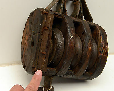 Antique  Block & Tackle Wood Iron Pulley Nautical 7