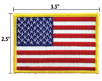 AMERICAN FLAG EMBROIDERED PATCH iron-on GOLD BORDER USA US United States 2