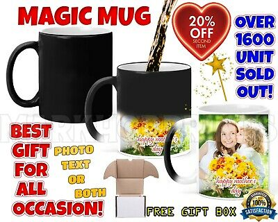 Personalised Magic Mug Cup Heat Colour Changing Custom Photo Text Birthday Gift 2