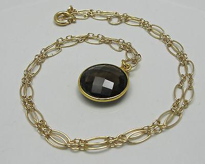 Smoky Brown Quartz Bezel 15mm Round Gemstone Gold Filled Necklace 2
