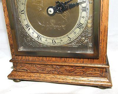 Oak with Blind Fretwork Bracket Mantel Clock by ELLIOTT LONDON 5