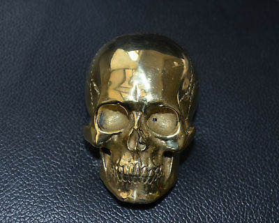 Copper Human Skull Mens Belt Buckle Brass Lost Wax casting hand polished Gift 3