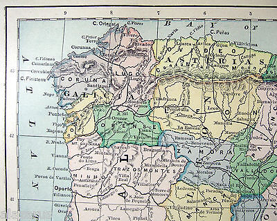 Original Antique 1883 Map of Spain & Portugal by Phillips & Hunt 2