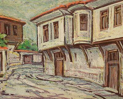Vintage impressionist pastel painting cityscape village 4