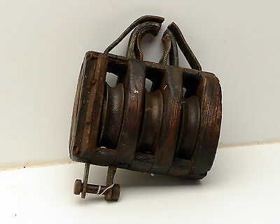 Antique  Block & Tackle Wood Iron Pulley Nautical 2