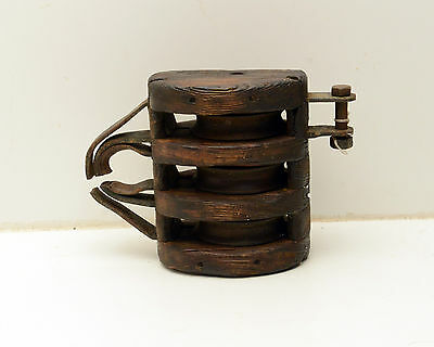 Antique  Block & Tackle Wood Iron Pulley Nautical 3
