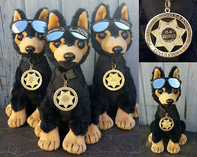 Black Tan German Shepherd Plush Police Dog w K9 Badge Mirrored Aviators charity 6