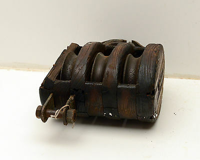 Antique  Block & Tackle Wood Iron Pulley Nautical 6