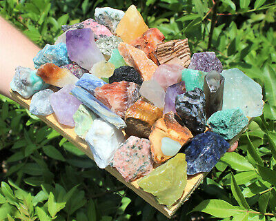 Bulk Crafters Collection 1/2 lb Box Gems Crystals Natural Raw Mineral 250g Rocks 10