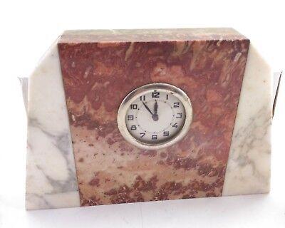 Antique Vintage Art Deco Variegated Marble Mantle Clock ca.1920 2