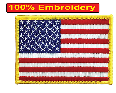 AMERICAN FLAG EMBROIDERED PATCH iron-on GOLD BORDER USA US United States 3