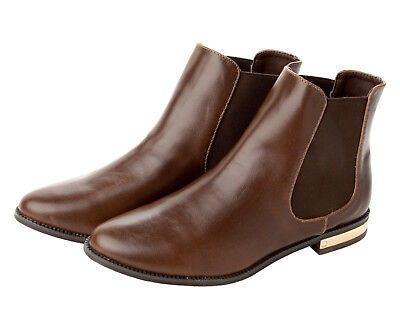 WOMENS BROWN CHELSEA SMART FORMAL OFFICE ANKLE BOOTS SHOES LADIES UK SIZE 3-9
