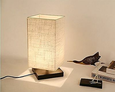 Solid Wood Table Lamp Bedside Desk Lamp Minimalist Fabric Shade Lighting Fixture
