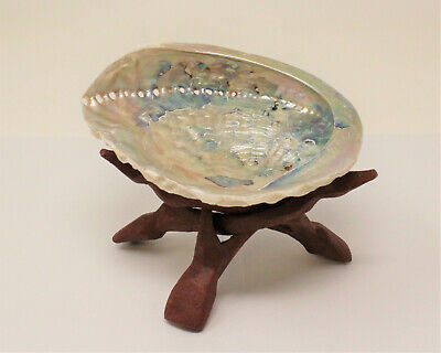 "LARGE LIGHT Abalone Shell 5-6"" with Stand White Sage Smudge Stick (Smudging Kit) 2"