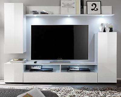 wohnwand wei hochglanz wohnzimmer tv hifi m bel medienwand fernsehschrank dos eur 269 99. Black Bedroom Furniture Sets. Home Design Ideas
