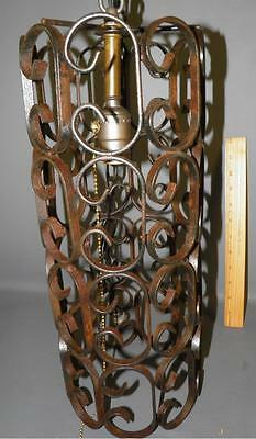 Antique Spanish Revival Wrought Iron Scrolled Chandelier Pendant Light Fixture 5