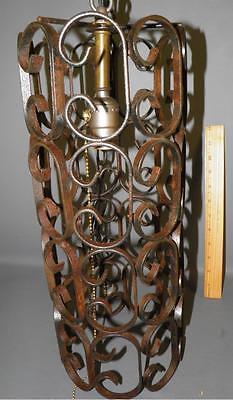 Antique Spanish Revival Wrought Iron Scrolled Chandelier Pendant Light Fixture 5