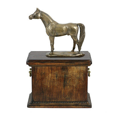 Beautiful solid wood casket with Bronze Statue - Arabian Horse cremation urn (1) 3