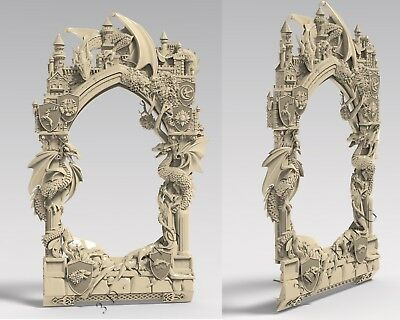 3D STL Model # ORIGINAL FRAME 7 DRAGONS # for CNC Aspire Artcam 3D Printer 2