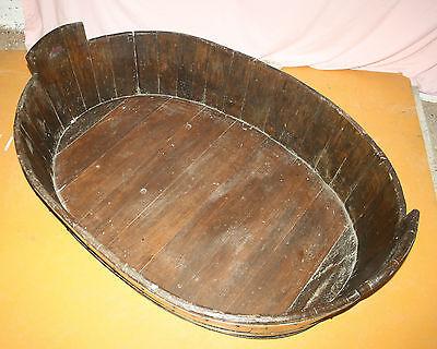 Antique Victorian huge unusual vernacular barrel log basket dog bed bath cot 5