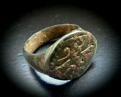 ANCIENT BRONZE SEAL RING SCRIPT TO THE BEZEL 1st CENTURY B.C. 2