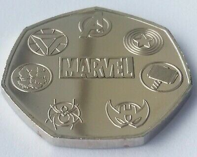 Unofficial Marvel Rare 50p Coin Pence Shape Custom Made Solid Token Stan Lee 2