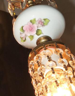 Vintage Capodimonte PInk ROSE porcelain Brass swag lamp chandelier French Apartm 2