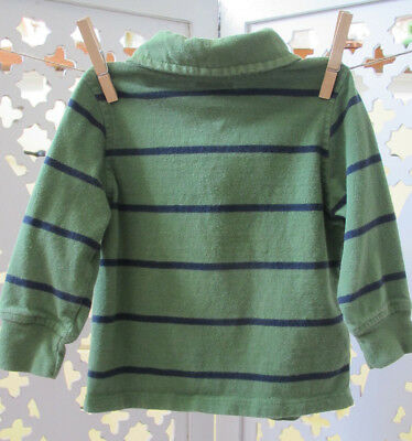 Old Navy Toddler Boy Rugby Polo Shirt, 18-24 Months, Lot of 2, Green Stripe Top 11