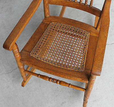 4 Of 6 Antique Oak Youth Rocking Rocker Chair   Cane Seat