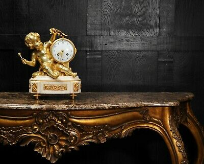 ORMOLU & WHITE MARBLE ANTIQUE FRENCH CLOCK PUTTO in CLOUDS PLAYING a DRUM C1880 4