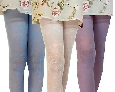 Girls Occasion Tights 30 Denier Flower Roses Bridesmaid Communion Age 3-10 2