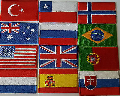 National Country Embroidered Flag Sew/Iron On Patch Choose Your Country 2