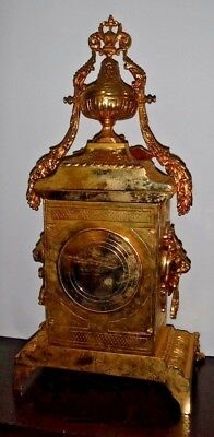 Rare Beautiful French Japy Frere Antique Gilt 8 Day Chime Clock Working 9